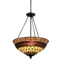 Shop Portfolio 27-in W Rust Tiffany-Style Pendant Light ...