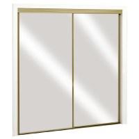 Shop ReliaBilt Satin Gold Mirrored Sliding Door (Common ...