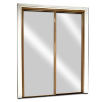 Shop ReliaBilt Oak Mirrored Sliding Door (Common: 72-in x ...