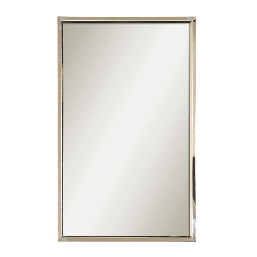 Shop Global Direct 18in x 30in Polished Stainless Steel Rectangle Framed Wall Mirror at Lowescom