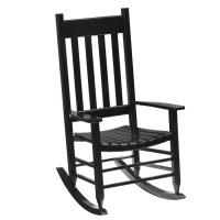 Shop Garden Treasures One Porch Black Wood Slat Seat ...