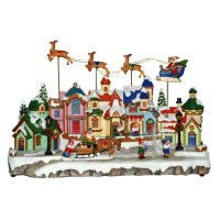 Shop Holiday Living LED Village with Flying Santa and ...