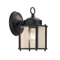 Shop Portfolio 8.25-in H Black Outdoor Wall Light at Lowes.com