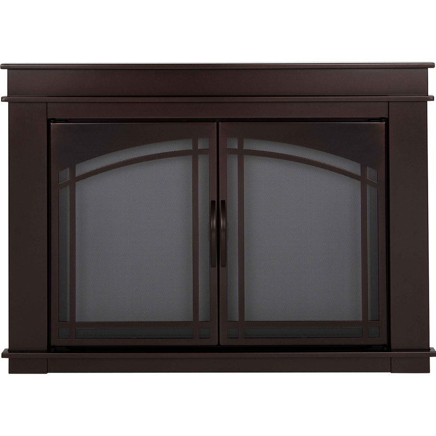 Shop Pleasant Hearth Fenwick OilRubbed Bronze Small CabinetStyle Fireplace Doors with Smoke