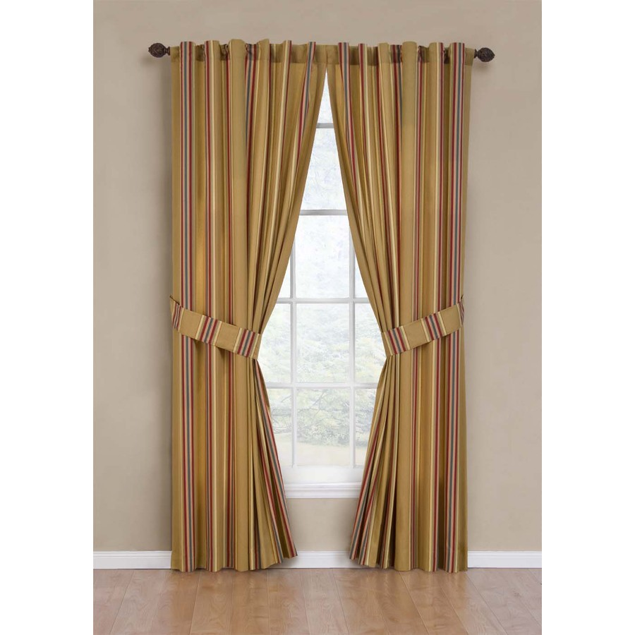 Shop Waverly Torino Stripe 84in L Striped Saffron Back Tab Window Curtain Panel at Lowescom