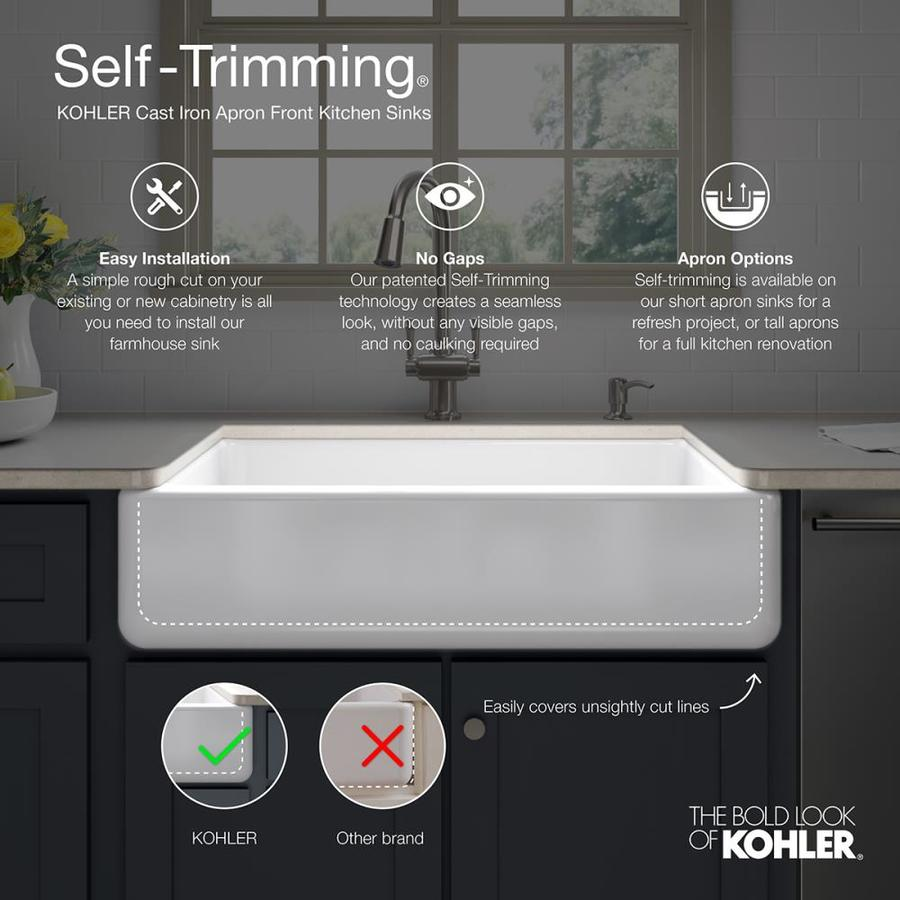 kohler whitehaven farmhouse apron front 35 68 in x 21 56 in black double offset bowl kitchen sink in the kitchen sinks department at lowes com