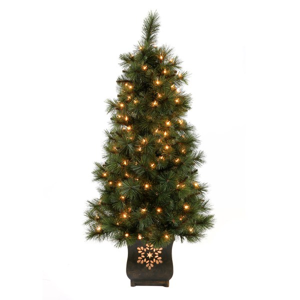 Holiday Living 4-ft Indoor Outdoor Pre-lit Scott Pine Artificial Christmas Tree With 150