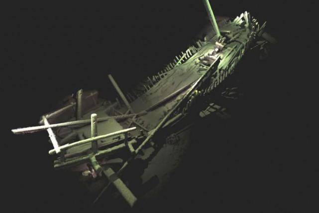 Épave d'un navire médiéval. Il s'agit du vestige... (PHOTO FOURNIE PAR L'UNIVERSITÉ DE SOUTHAMPTON)
