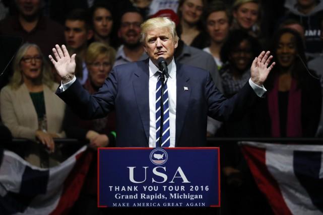 Donald Trump au Michigan dans le cadre de... (Photo AP)