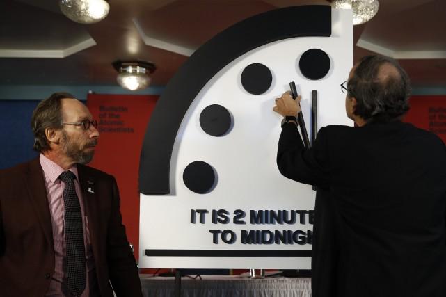 Depuis sa création en 1947, l'horloge de l'apocalypse... (PHOTO AP)