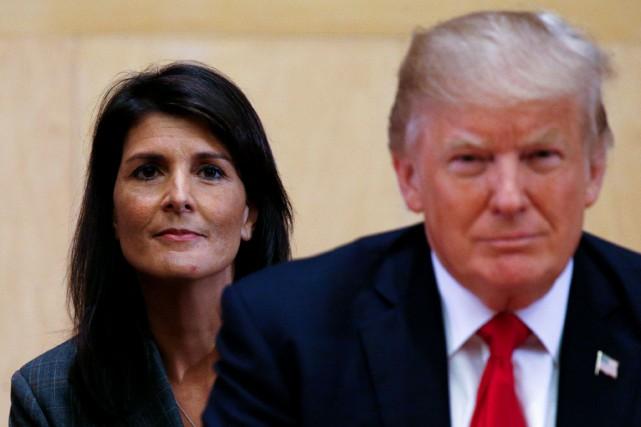 Nikki Haley et Donald Trump au siège de... (REUTERS)