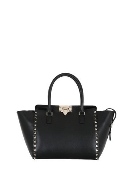 Valentino Large Rockstud Leather Top Handle Bag