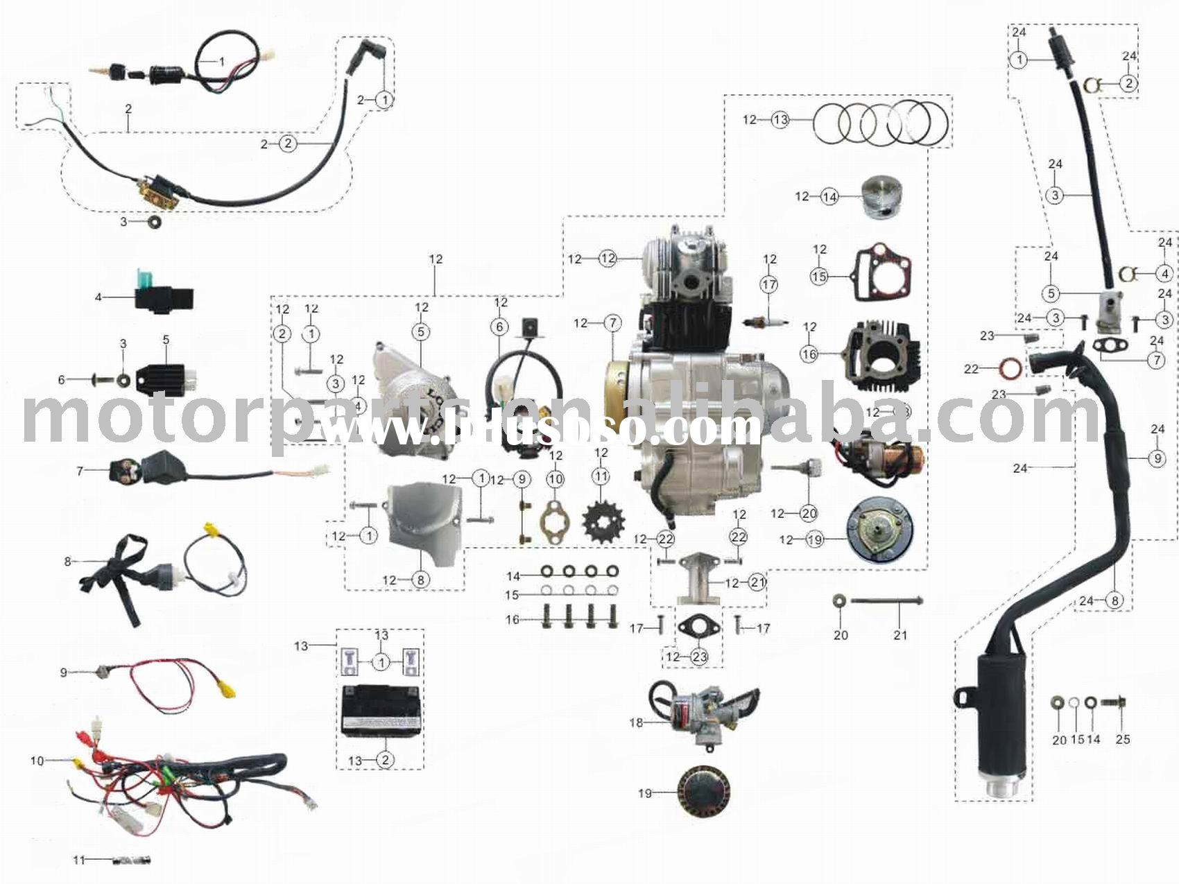 China Atv Parts Engine And Wiring List For Sale