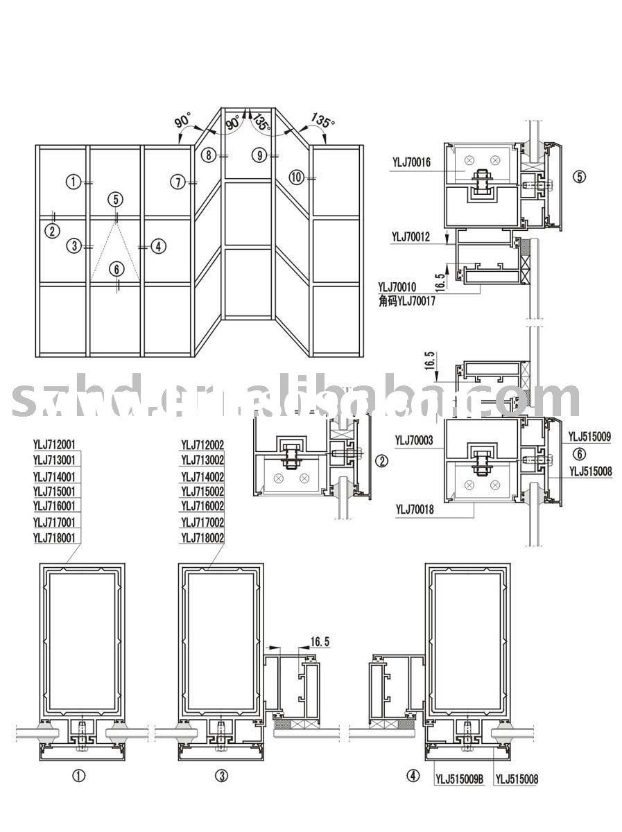 Invisible curtain wall installation extrusion for sale