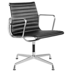 Eames Aluminum Chair Tall Fishing Group Side By Herman Miller At Lumens Com Shown In 2100 Leather Black With Polished Base Finish Arms
