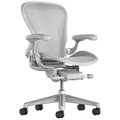 ergonomic chair description italian leather chairs dining aeron office size band mineral by herman miller at lumens com shown in satin aluminum finish