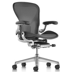 Herman Miller Chair Sizes Victoria Ghost Aeron Office Size Cand Graphite By At Lumens Com Shown In Polished Aluminum Finish With Adjustable Posture Fit Sl