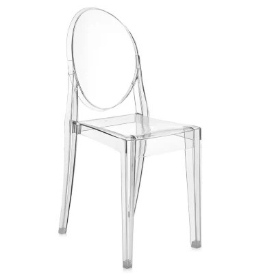 victoria ghost chair rounded corner set of 2 by kartell at lumens com shown in crystal