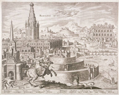 Philippe Galle – The City of Babylon with the grave of Semiramis