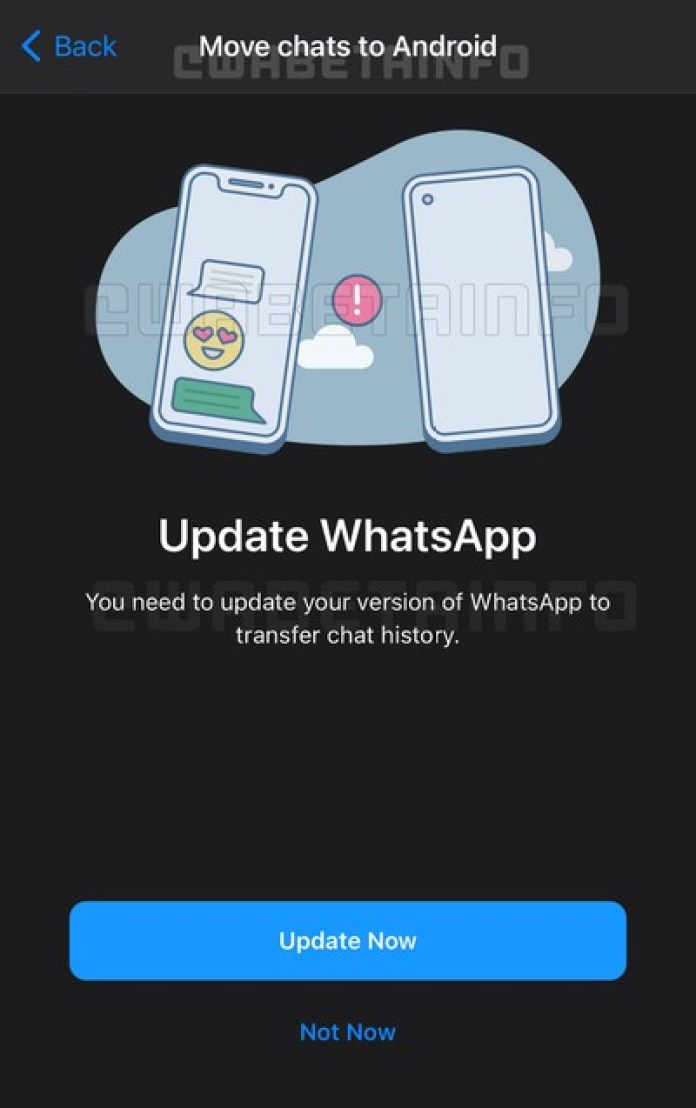 whatsapp ios android chat transfer