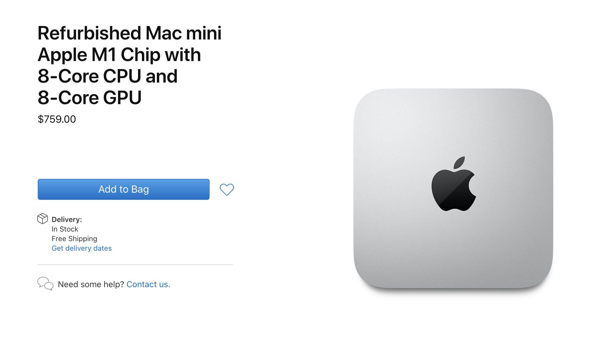 Apple starts selling the refurbished M1 Mac Mini
