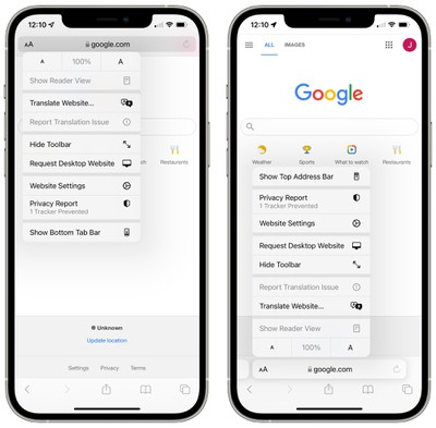 safari show bottom tab bar ios 15 option