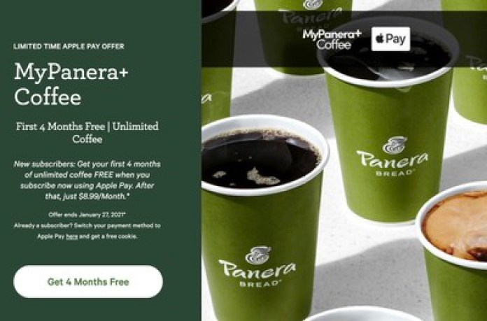 panera bread free coffee apple pay