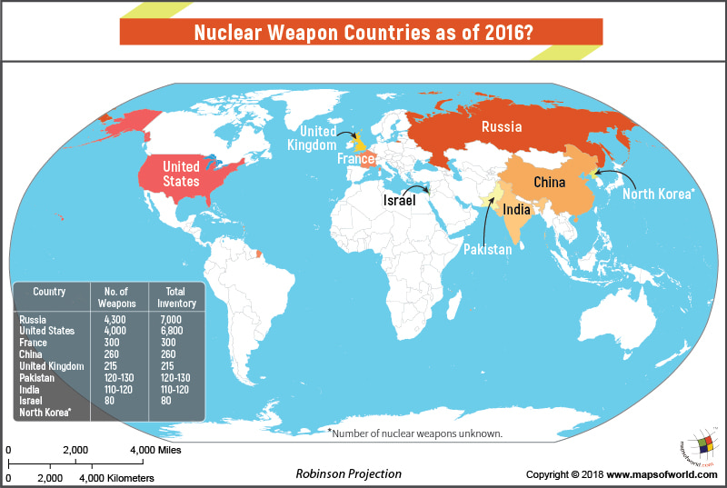 World Map Highlighting countries having Nuclear Weapons