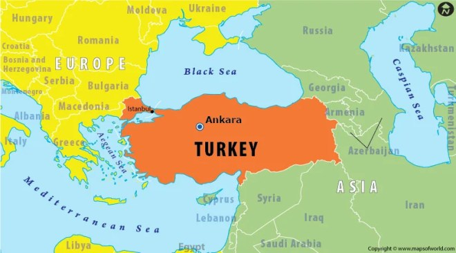 Turkey is said to be somewhat in both Europe and Asia.
