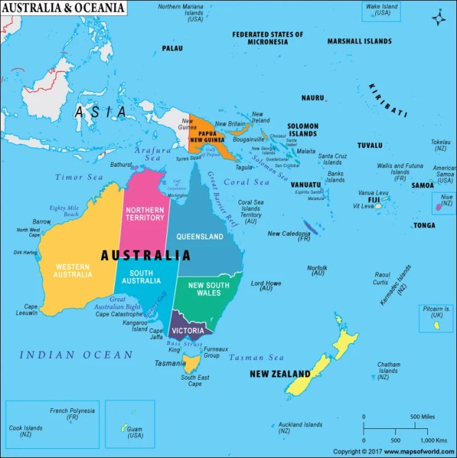 Oceania is a region of the South Pacific Ocean that consists of many different island groups.