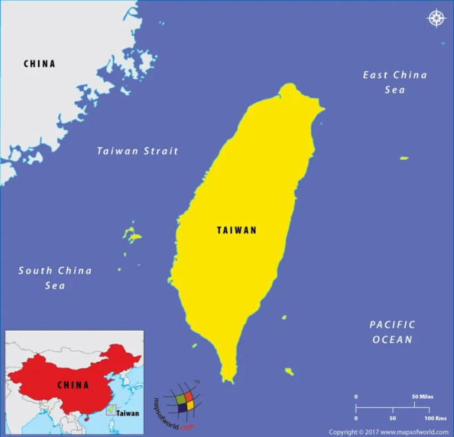 Map showing Taiwan location