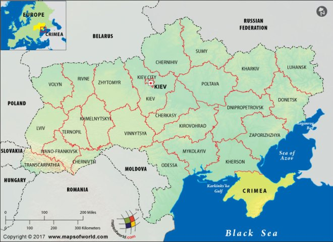 Map of Crimea and Ukraine