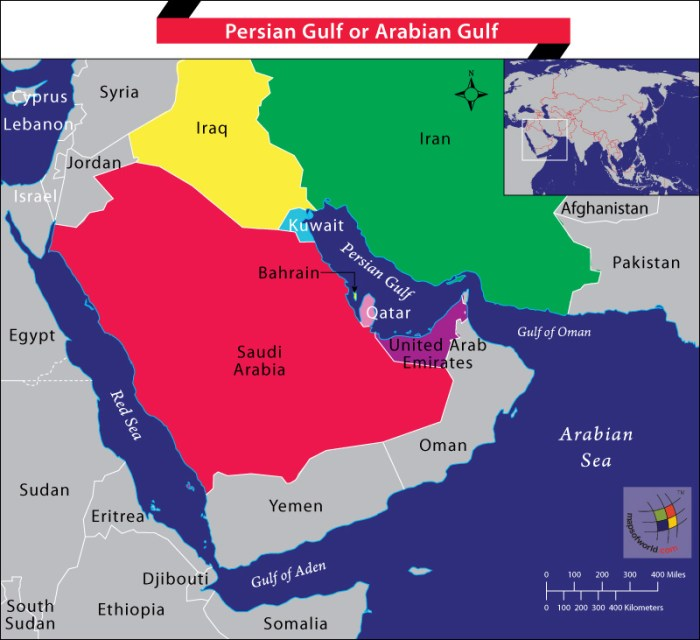 Map of Middle East highlighting Persian Gulf