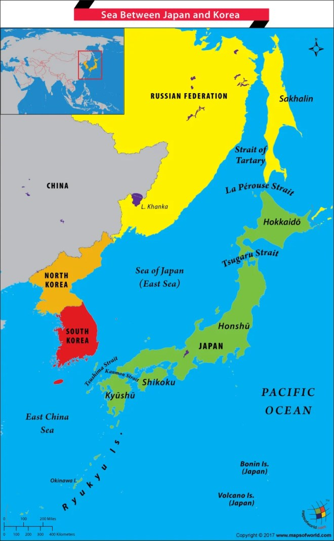 Sea Of Japan Map What is the name of the Sea between Japan and Korea?   Answers