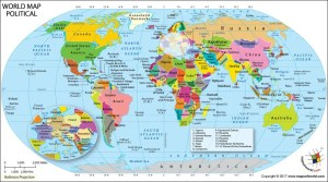 World Map showing Countries/Nations of the World