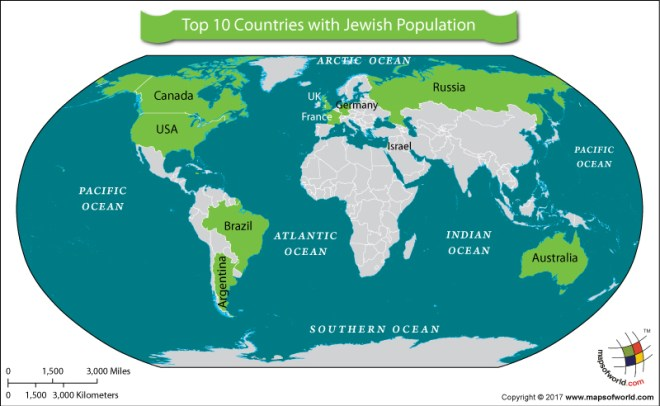World Map showing top 10 Jewish population countries