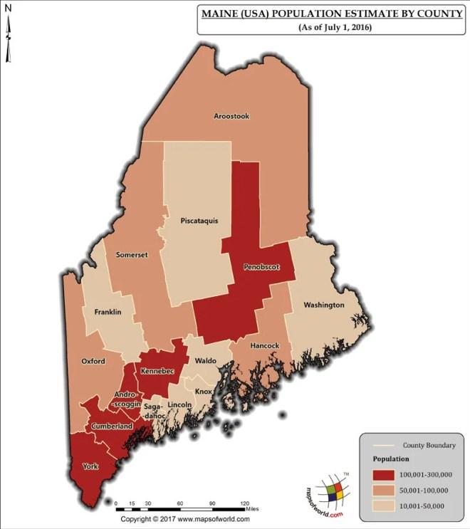 Maine Population Map