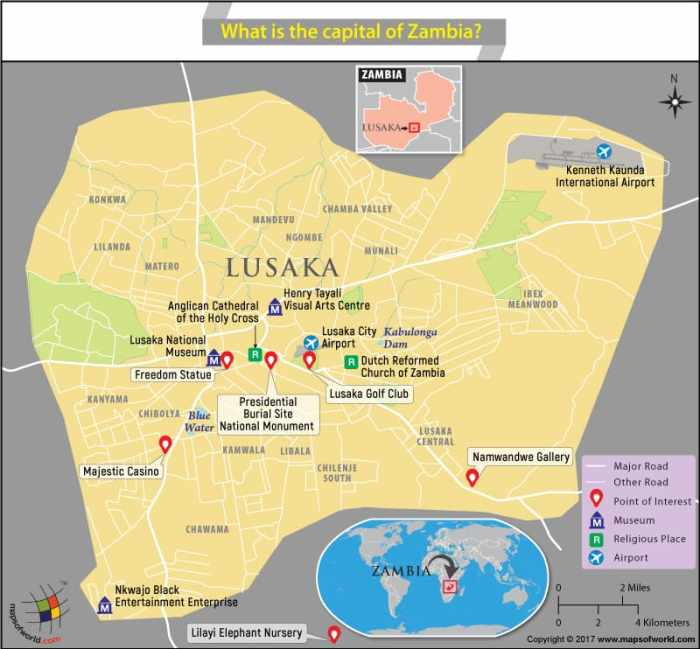Map of Lusaka city, the capital of Zambia