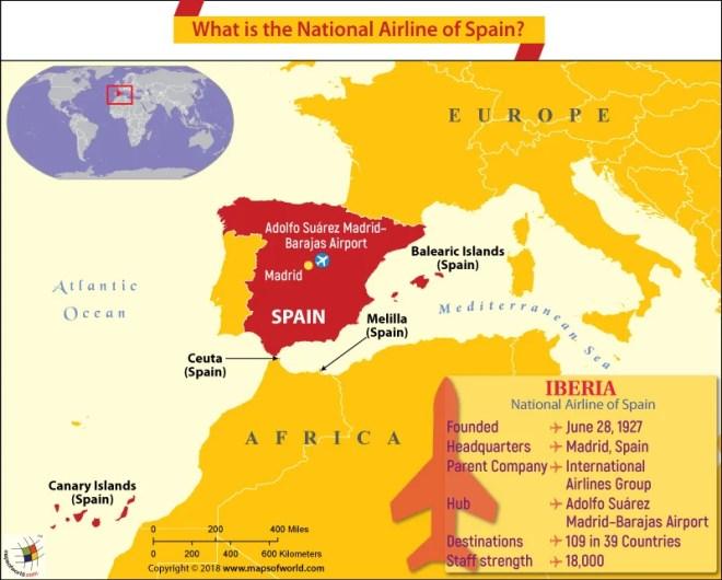 Spain Map highlighting the headquarters of Iberia Airways