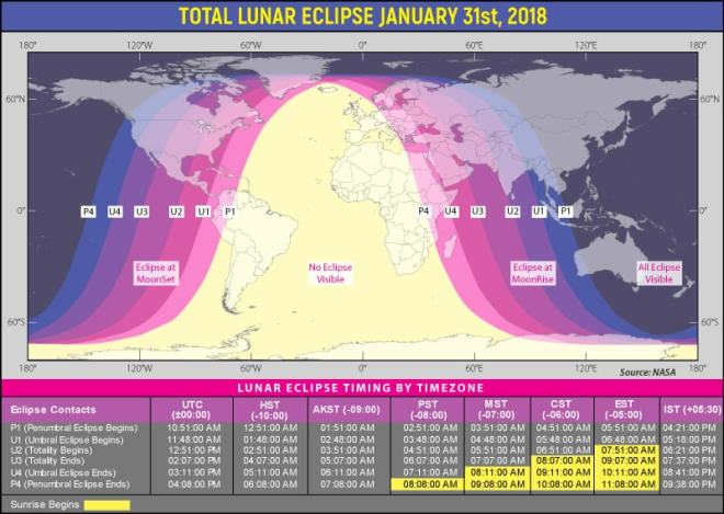 Map of the world highlighting the places from where the Jan 2018 lunar eclipse will be visible