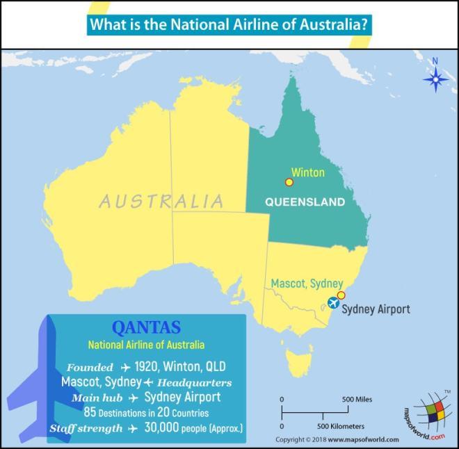 Australia Map highlighting the headquarters of Qantas Airways