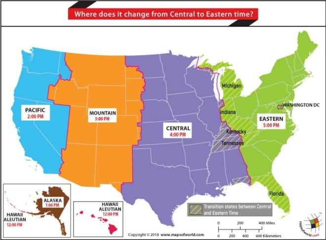 Where Does It Change From Central To Eastern Time Answers