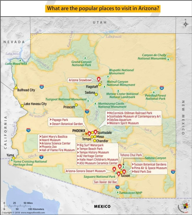 Map of Arizona highlighting Popular places to visit