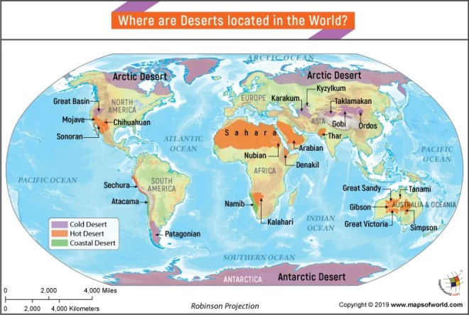 Sahara Desert World Map Where are Deserts Located in the World?   Answers