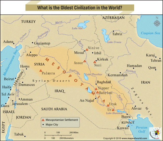 Mesopotamia On World Map What is the oldest civilization in the world?   Answers