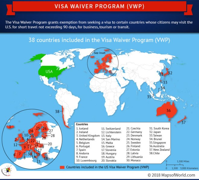 World map highlighting countries included in the Visa Waiver Program