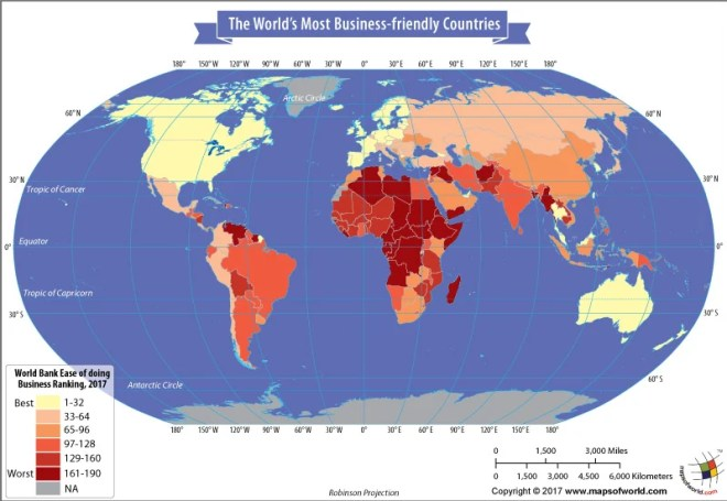 World Map - country rankings by ease of doing business