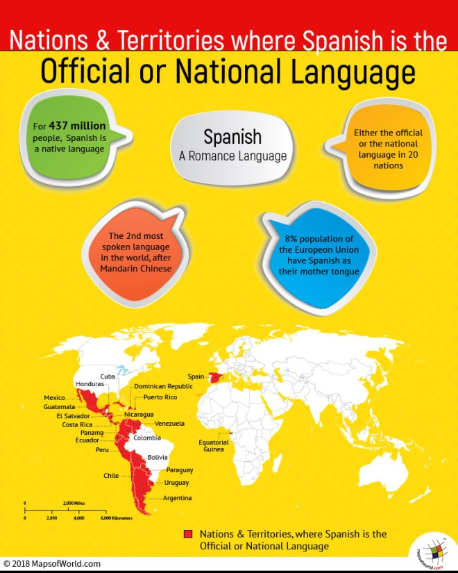 World Map showing Countries where Spanish is the official language