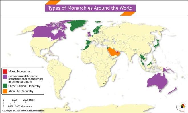 World Map highlighting types of Monarchies around the World