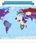 Map Showing Father's Day Celebrations Around the World